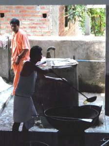 <h3> Sripad Paresh Prabhu arranging the bhoga preparation</h3>