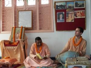 <h3> Sripad Tyagi Maharaja and Sripad Shanta Maharaja lead the kirtan in Natmandir</h3>